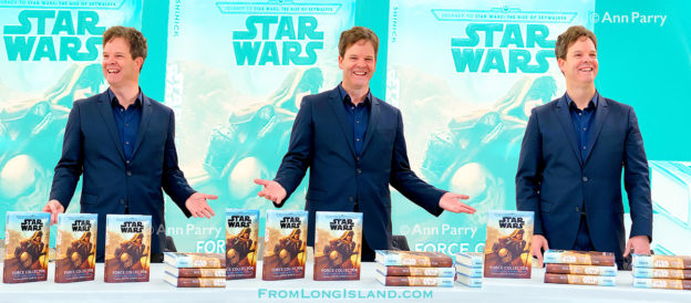 Merrick, New York, U.S. December 20, 2019. [photo composite] KEVIN SHINICK discusses his novel during book signing for STAR WARS: FORCE COLLECTOR at North Merrick Library on Nassau County Force Collector Day. Author Shinick named home planet of Karr Nuq Sin, the main character of this canon Star Wars young adult novel, MEROKIA in honor of Merokee tribe who settled his Merrick hometown on Long Island. (© 2019 Ann Parry, AnnParry.com)
