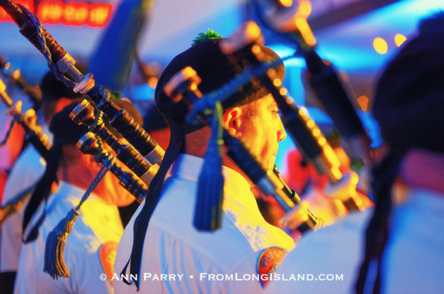 Garden City, New York, U.S. November 14, 2019. The Nassau County Police Emerald Society Pipe Band performs during the 17th Annual Cradle of Aviation Museum Air and Space Gala. The event helps support the development of new activities and educational programs, and honors the innovations of leaders in aviation, technical achievement, and leadership. (© Ann Parry/AnnParry.com)
