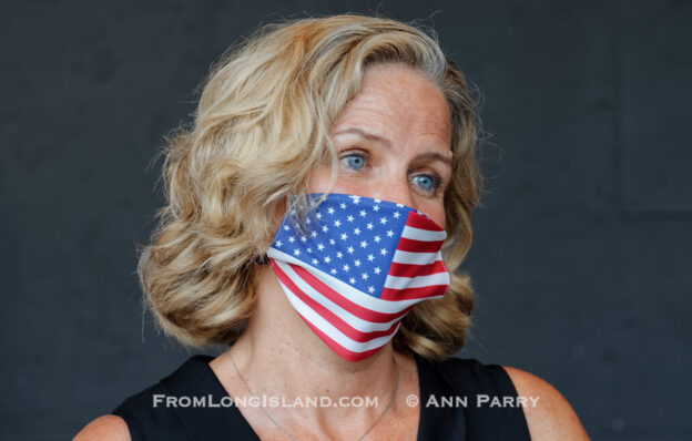 East Meadow, New York, U.S. September 10, 2020. Nassau County Executive LAURA CURRAN wears a face mask with American flag design, at the county Remembrance Ceremony at Eisenhower Park commemorating 19th anniversary of September 11 2001 terrorist attacks. (© 2020 Ann Parry, AnnParry.com)