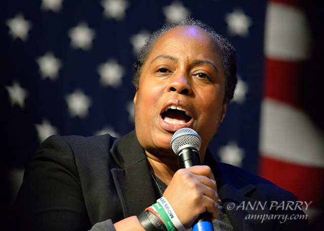 """""""Port Washington, New York, USA. April 11, 2016. MARIE DELUS who lost her nephew Pierre-Paul Jean-Paul in Queens, is a panelist on gun violence prevention with other activists who lost family members due to shootings, and with Hillary Clinton and Rep. S. Israel. (© 2016 Ann Parry/AnnParry.com)"""