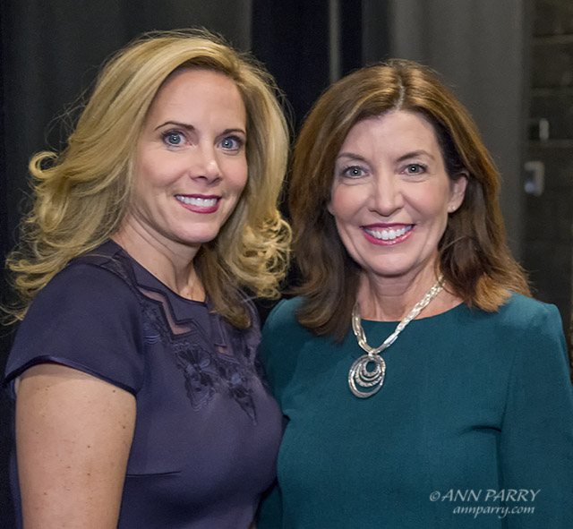 """""""Hempstead, New York, USA. January 1, 2018. L-R, Hempstead Town Supervisor LAURA GILLEN and New York State Lt. Governor KATHY HOCHUL pose for photo shortly before Lt. Gov. swears-in Gillen, at Hofstra University. (© 2018 Ann Parry/AnnParry.com)"""